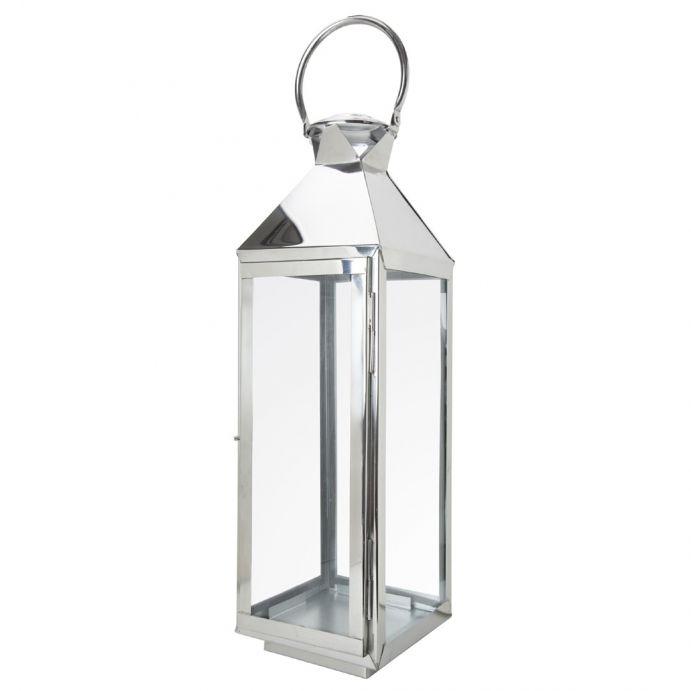 farol de cristal y plata rectangular