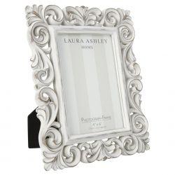 marco blanco de resina ornate scroll