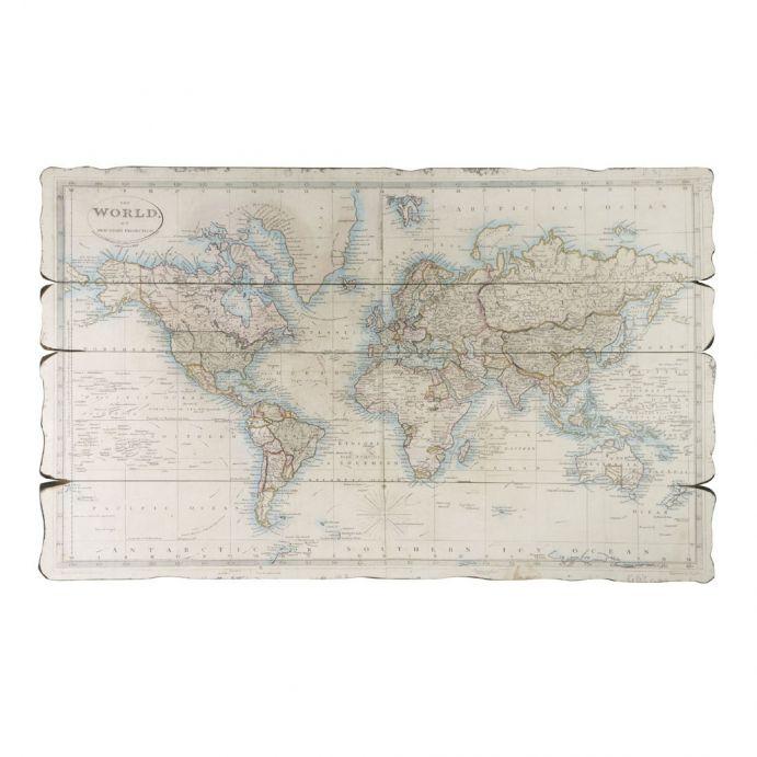 mapa mundi sobre madera