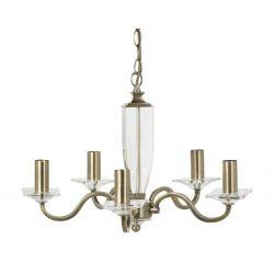 lámpara de techo de 5 brazos en bronce y cristal pulido
