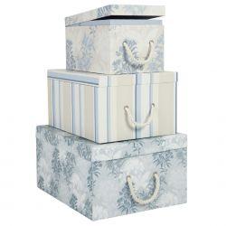 juego de tres cajas tenby azul mar