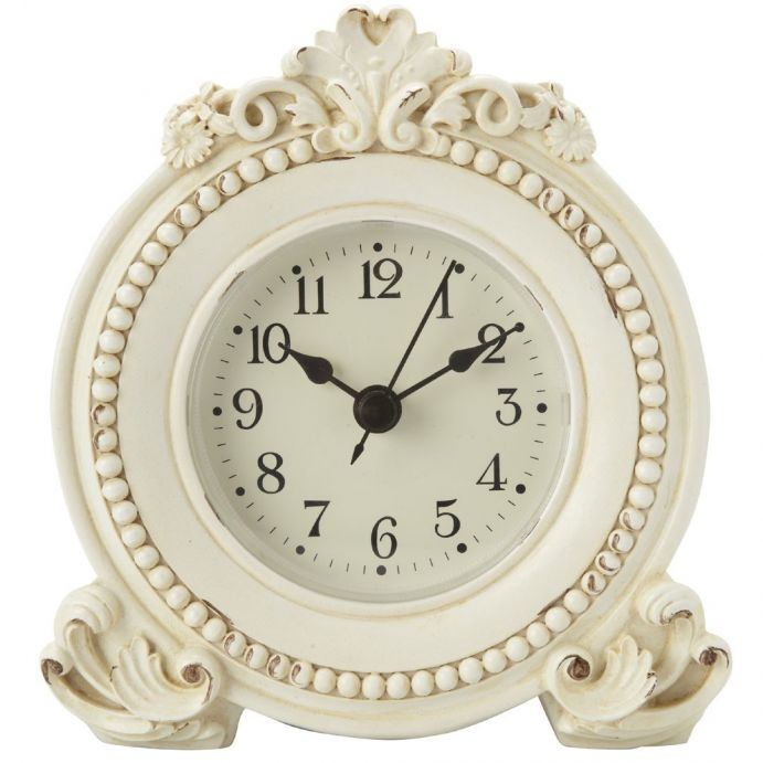 reloj de mesilla con decoración crema