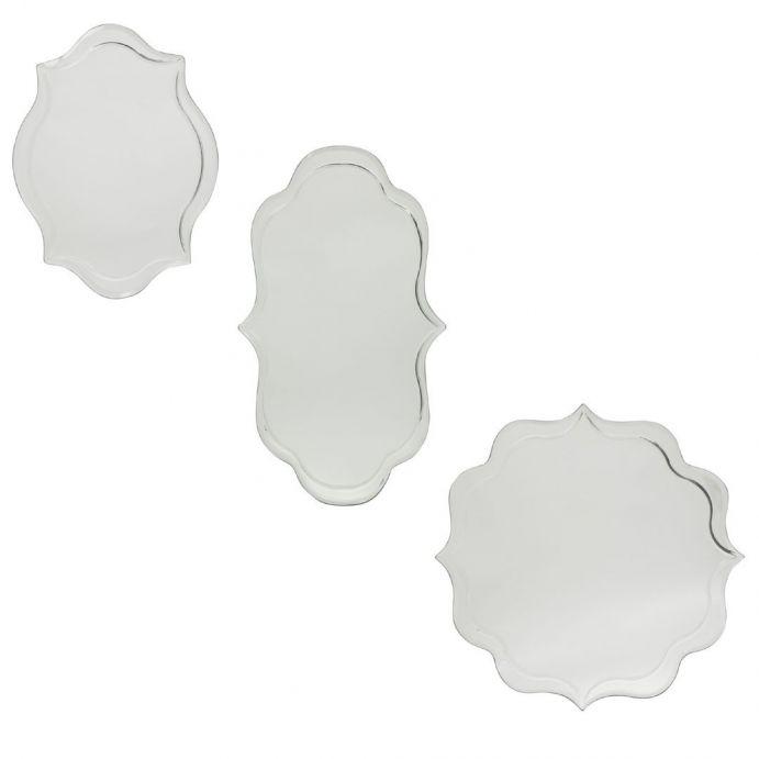 juego de 3 espejos decorativos biselados sin marco