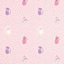 papel pintado kittens rosa