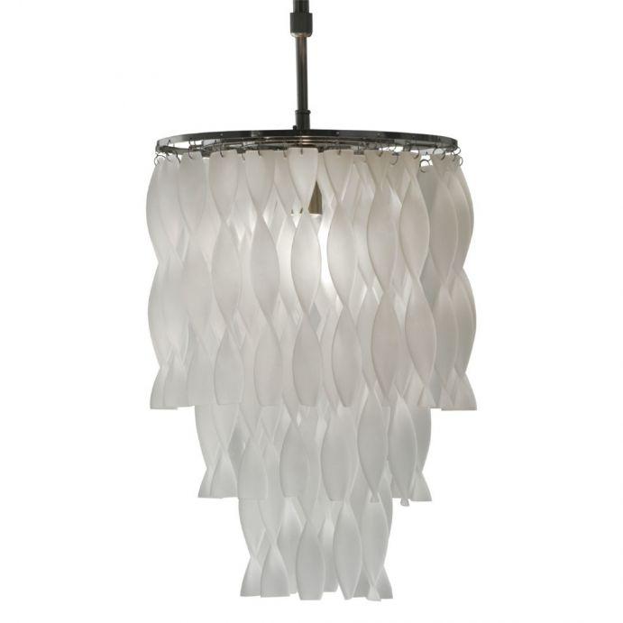 lámpara de techo con diseño de cascada de preciosas ondas  de cristal escarchado