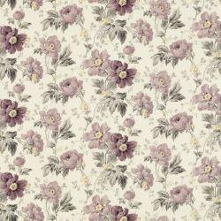 tela estampada con flores en tonos morados de diseño para cortinas y estores
