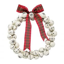 corona navideña con cascabeles de copos de nieve