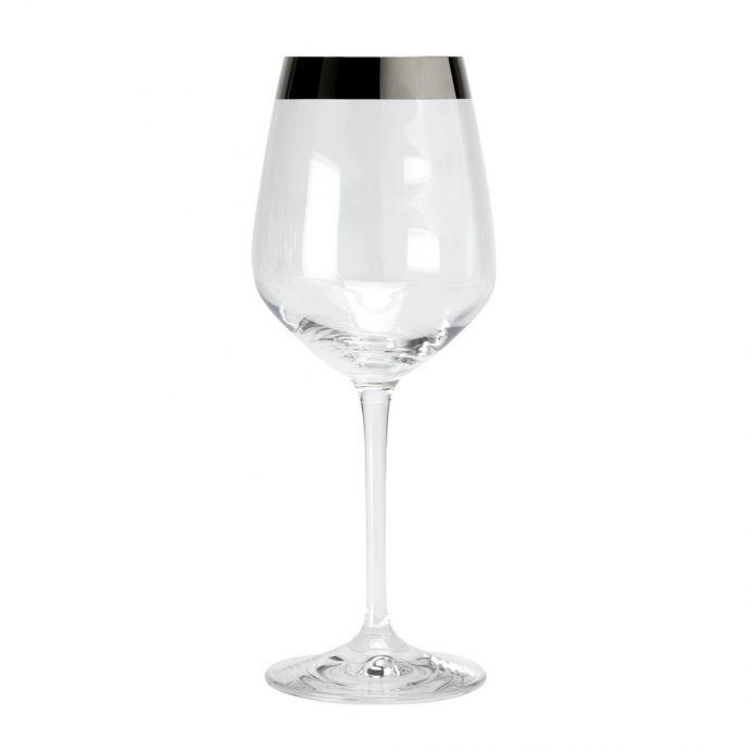 copa de vino con ribete plateado