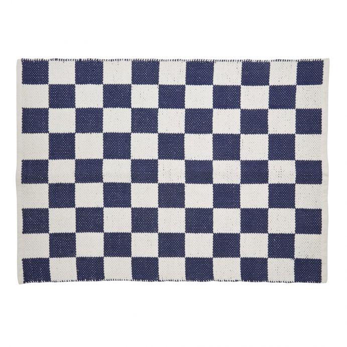 alfombra chequers azul marino y blanco