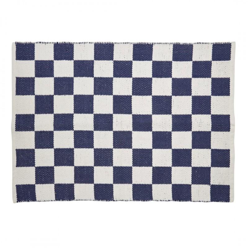 Comprar alfombra chequers azul marino y blanco de dise o for Alfombra infantil azul