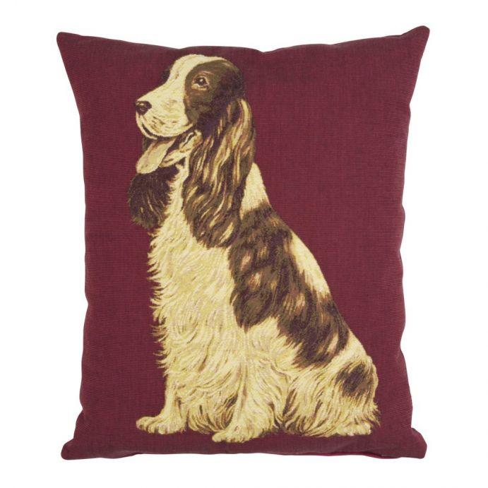 cojín perro spaniel sobre fondo rojo arándano