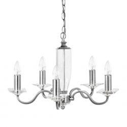 lámpara de techo de 5 brazos de acabado níquel  y cristal macizo