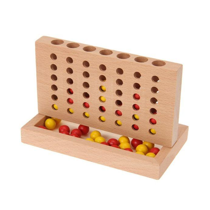 mini cuatro en raya de madera