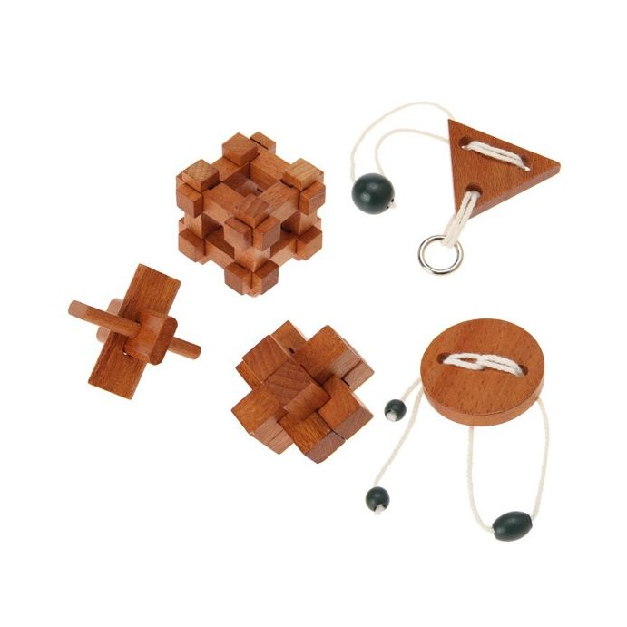 5 mini puzzles clásicos de madera