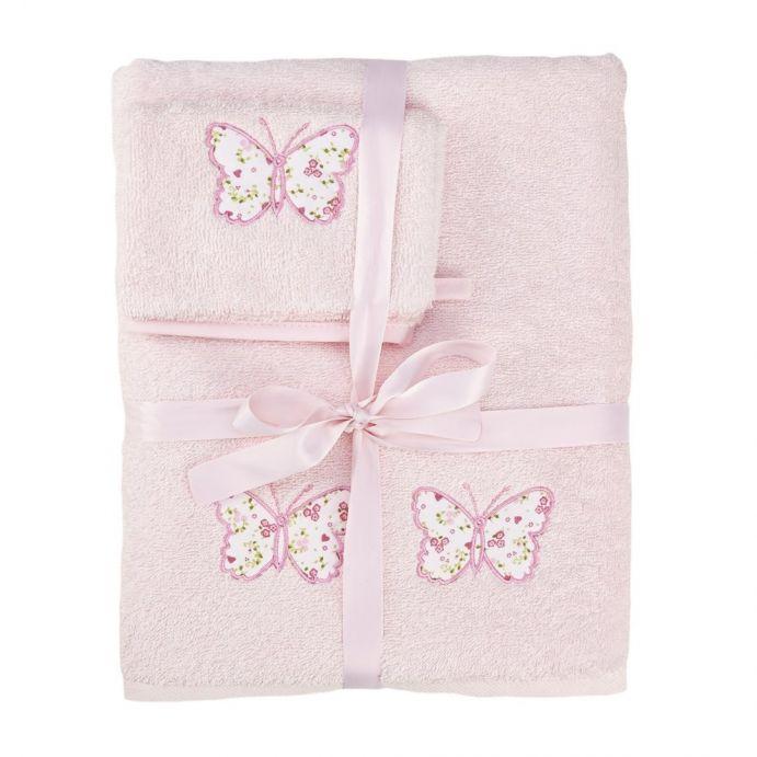 set de toalla y manopla bella butterfly rosa
