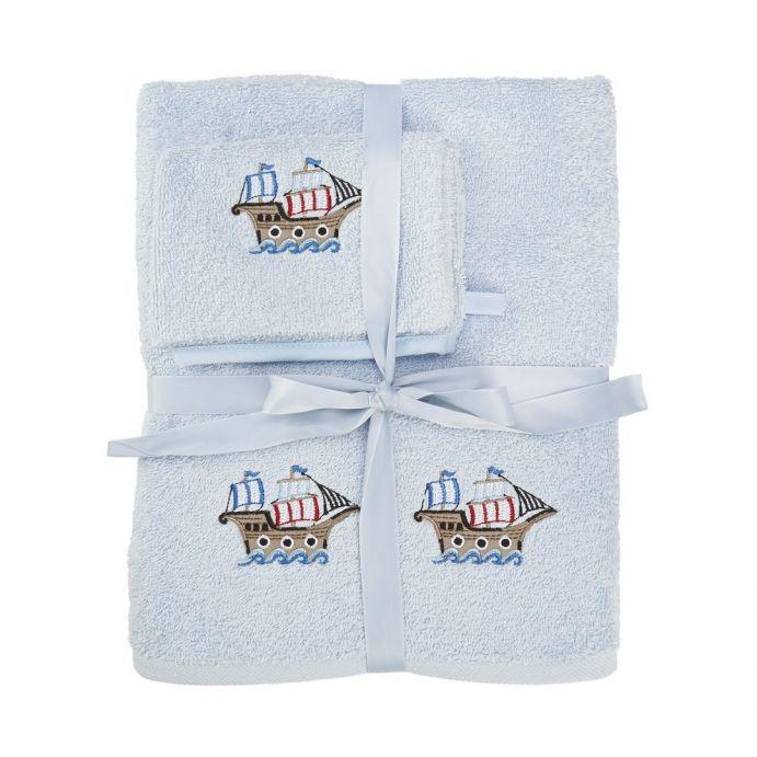 set de toalla y manopla pirate chip azul