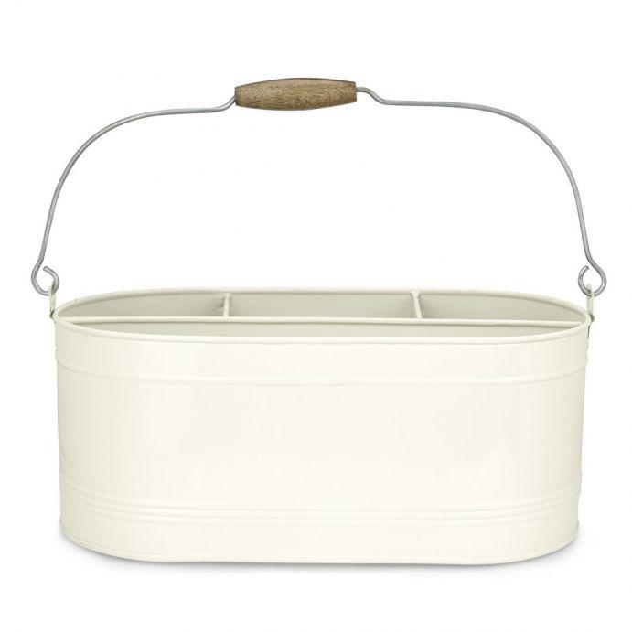 cesta esmaltada grande crema con asa