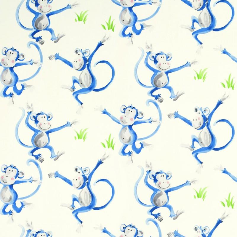 Comprar papel pintado cheeky monkey azul de dise o laura for Papel pintado azul