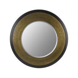 espejo redondo de pared bronce y negro de diseño