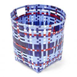 cesta de plástico trenzado azul