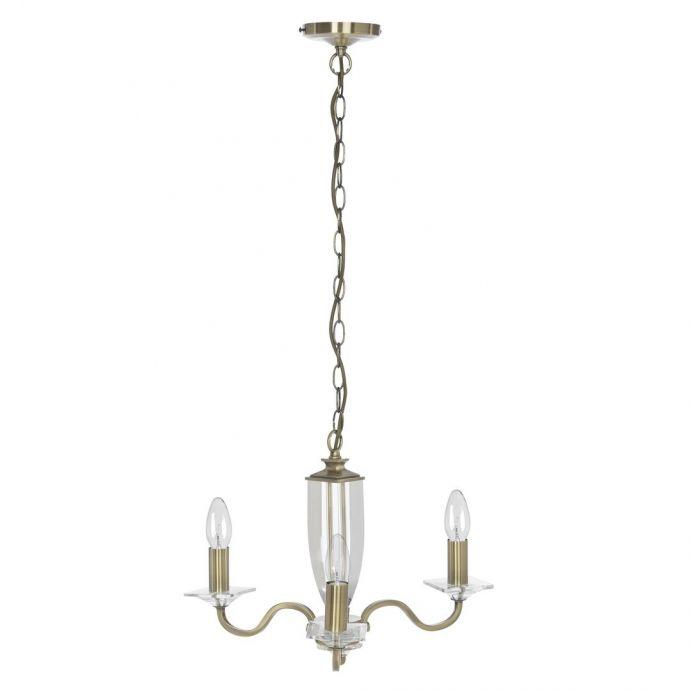 lámpara de techo bronce y cristal
