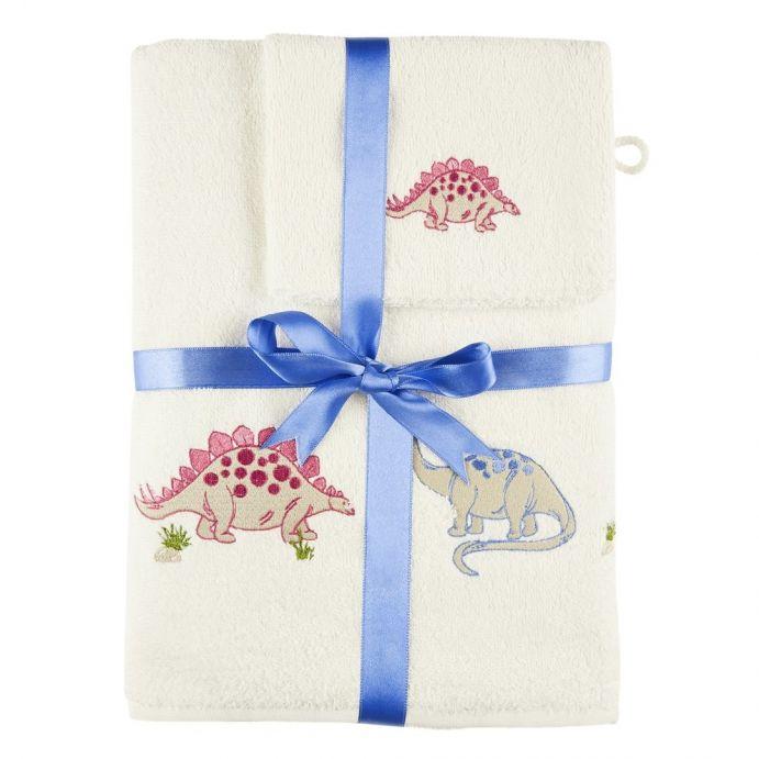 conjunto de toalla y manopla dinosaurs