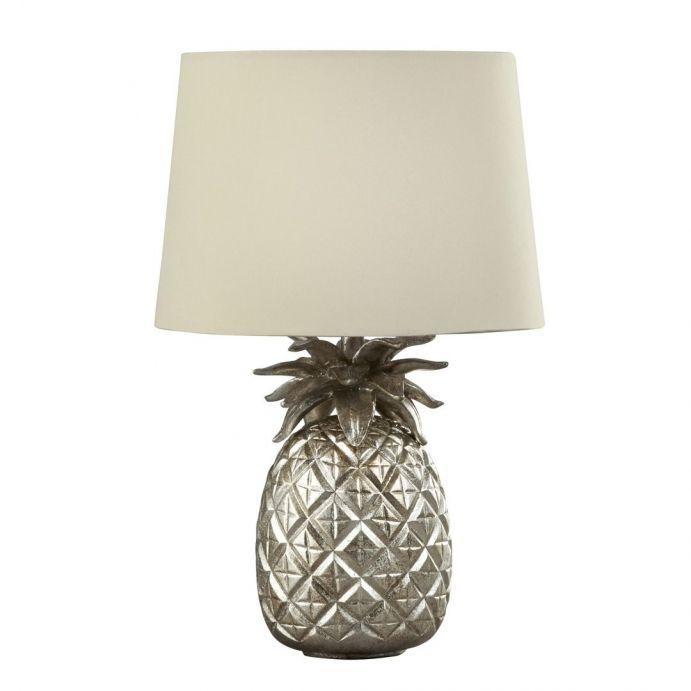 lámpara con forma de piña color champán y pantalla clara
