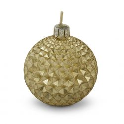vela decorativa dorada en forma de bola decorativa