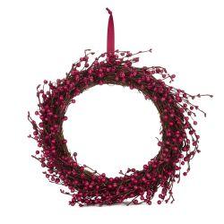 corona navideña de frutos rojos