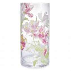 jarrón de cristal estampado con tulipanes rosas