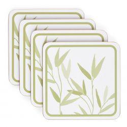 posavasos de corcho blanco con hojas verdes de diseño