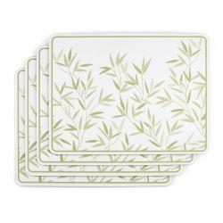 salvamanteles de corcho blanco con hojas verdes de diseño