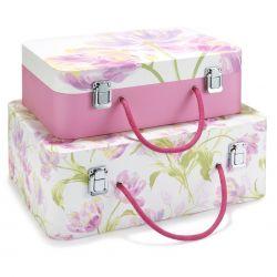 2 cajas con forma de maleta rosa con estampado de tulipanes rosas