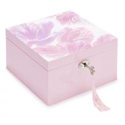 joyero cuadrado con llave y estampado de flores tulipanes rosas