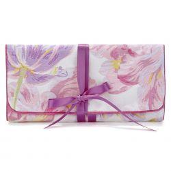 joyero cartera de viaje estampado con flores tulipanes rosas y morados