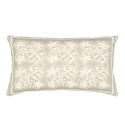 cojín rectangular en tonos grises de diseño floral vintage