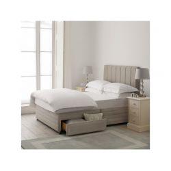 cama con canapé y cabecero tapizado en gris