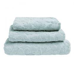 toallas estampado sculptured blossom azul verdoso