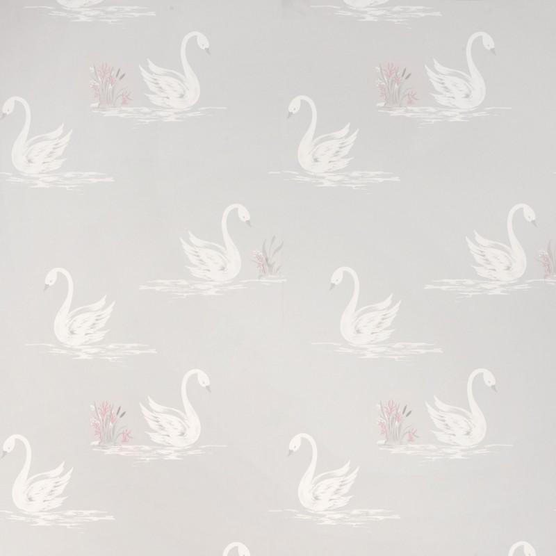 Comprar papel pintado swans gris plata de dise o laura - Papel pintado gris y plata ...
