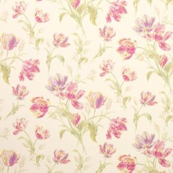 papel de pared pintado con tulipanes rosas