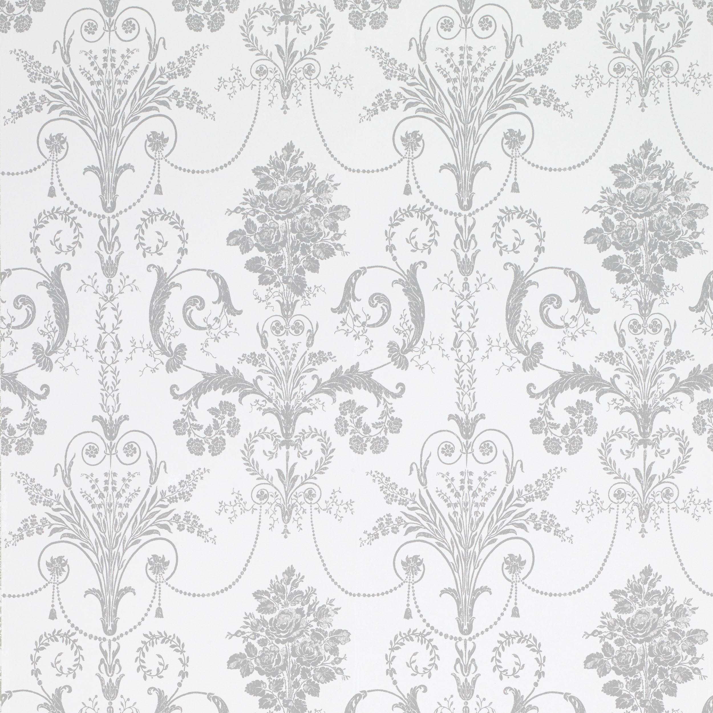 Comprar papel pintado Josette blanco y acero de diseño - Laura ...