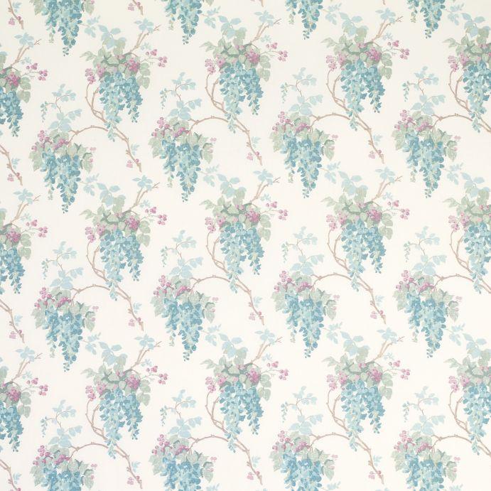 tela estampada con flores azules y rosas de diseño