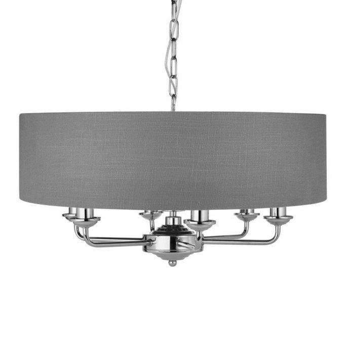 lámpara Sorrento níquel y carbón 6 brazos