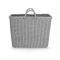 revistero cesta de ratán color gris de diseño