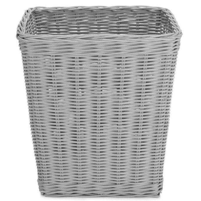 papelera de ratán gris