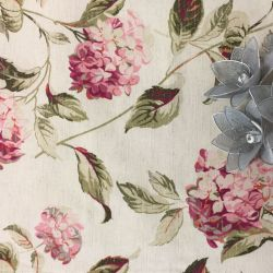tejido Hydrangea rosa y natural