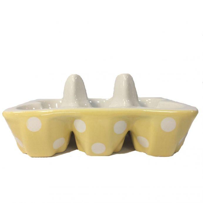 huevera cerámica amarilla