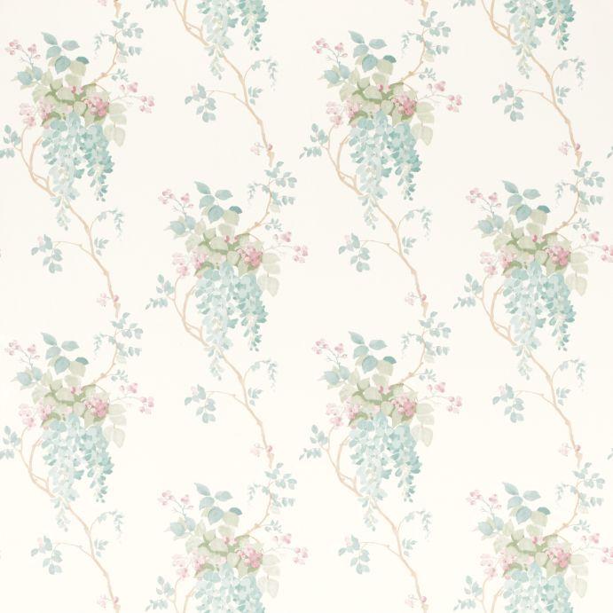 papel pintado Wisteria pistacho y azul verdoso