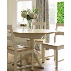 mesa redonda extensible Oakham crema y roble