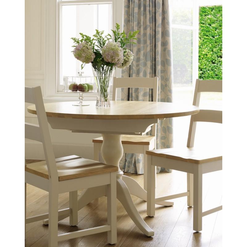 Comprar mesa redonda extensible Oakham crema y roble de diseño ...